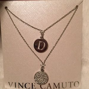NWT Vince Camuto necklace with initial 'D'.